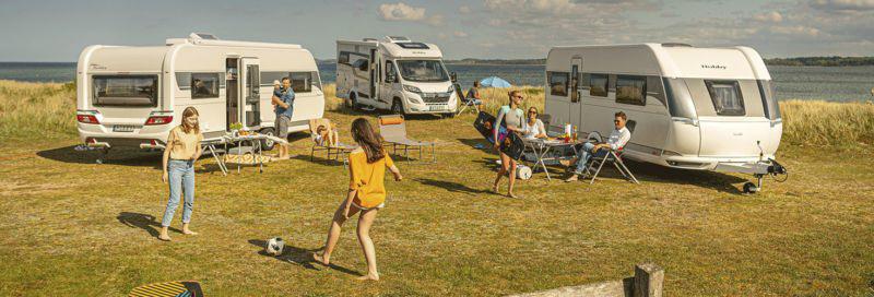 Auswahl an verschiedenen Hobby Campingfahrzeugen