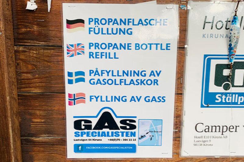 Hinweisschild für Gasaustausch