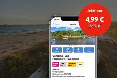 Die ADAC Camping und Stellplatzführer App im Angebot.