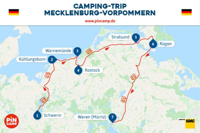 Route für den Camping-Trip durch Mecklenburg-Vorpommern