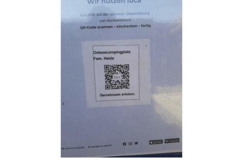 QR Code der Luca App bei Ostseecamping Familie Heide