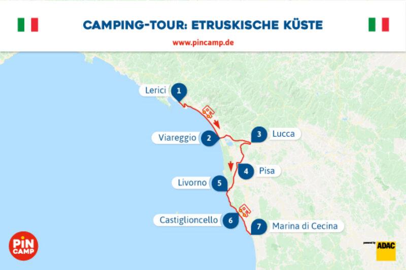 Unsere Route entlang der Etruskischen Küste