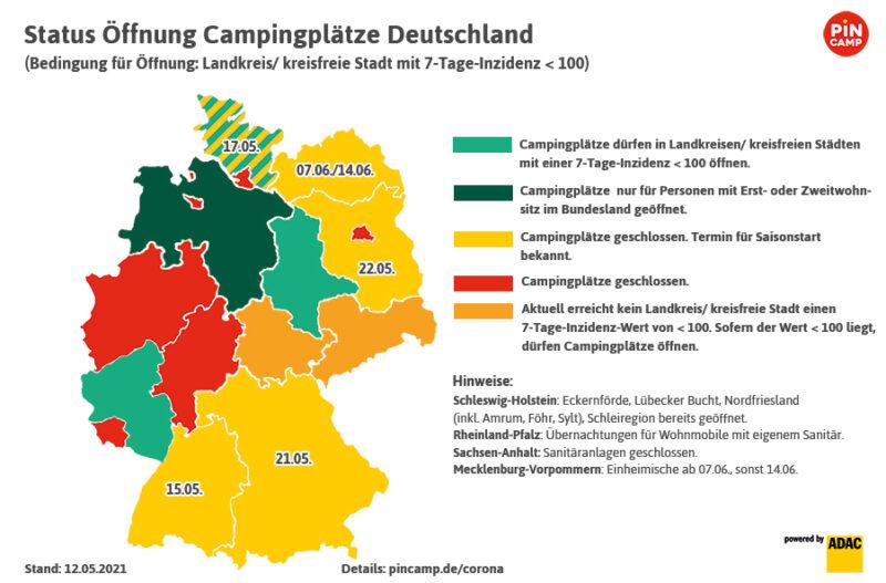 Status Öffnungen der deutschen Campingplätze nach Bundesländern, Stand 12.05.2021