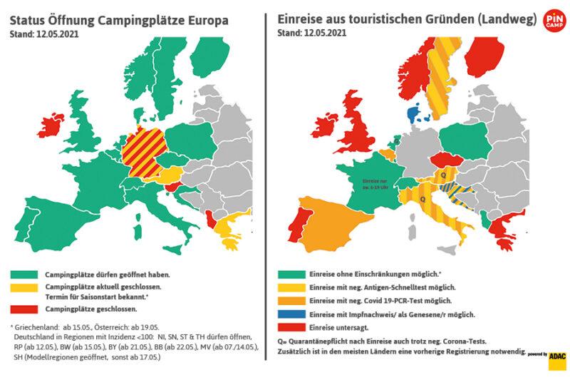 Status Campingplätze Europa, Stand: 12.05.2021