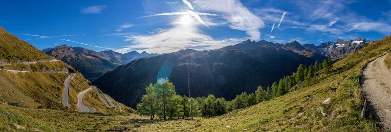 Überblick über die Timmlersjoch Hochalpinsttrasse und das Alpenpanorama
