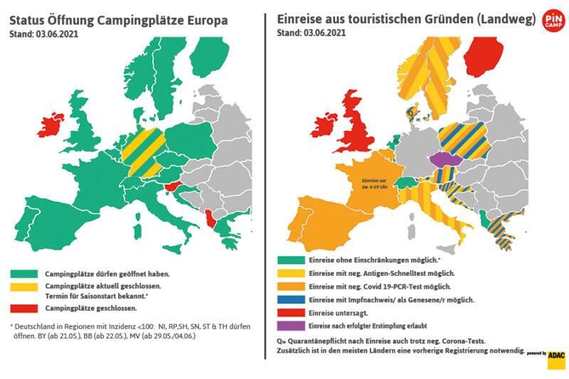Auf einen Blick: Wo dürfen Campingplätze öffnen und deutsche Touristen einreisen?