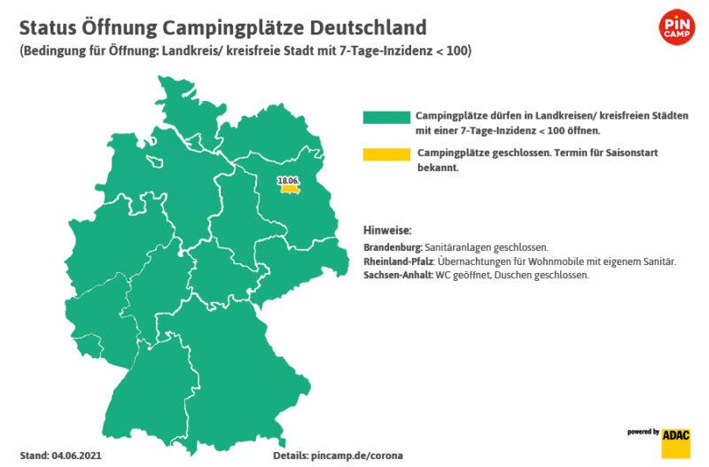 Die Öffnungsdaten der deutschen Campingplätze nach Bundesländern, Stand 04.06.2021