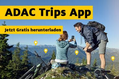 Finde mit der kostenlosen ADAC Trips APP die besten Tipps zu Ausflügen während Corona.