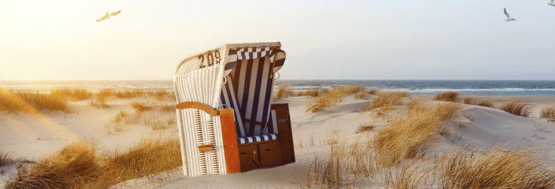 Strandkorb-am-Nordseesandstrand