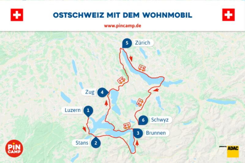 Routenplan durch die Schweiz