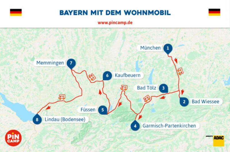 Routenplan von München nach Lindau