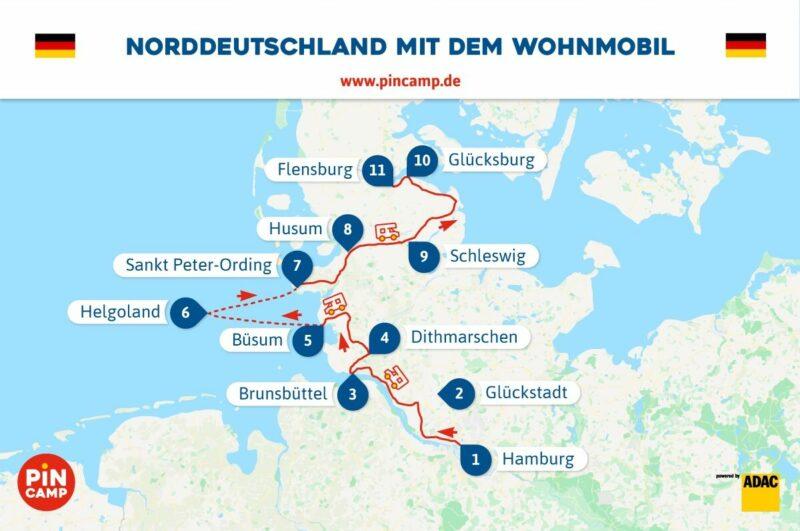 Route durch Norddeutschland von Hamburg bis Glücksburg.