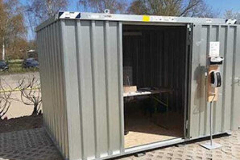 Corona-Tests in einem Container bei Ostseecamping Familie Heide
