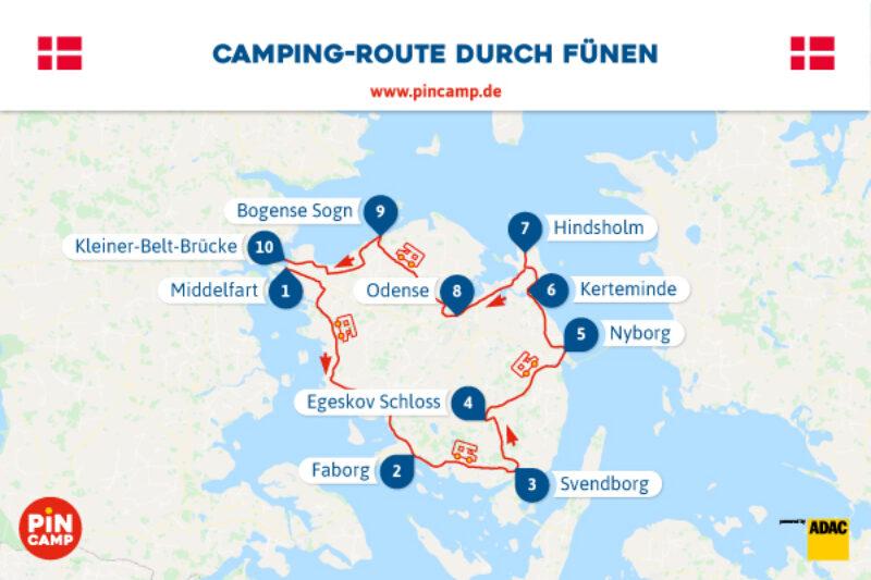 PiNCAMP Routen Grafik Fünen