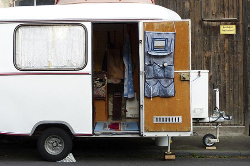 Wohnwagen mit Stützrad