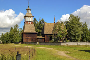 Aus Holz erbaute Kirche Namens Petäjävesi