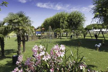 Grünfläche mit Spielplatz im Schatten der Bäume