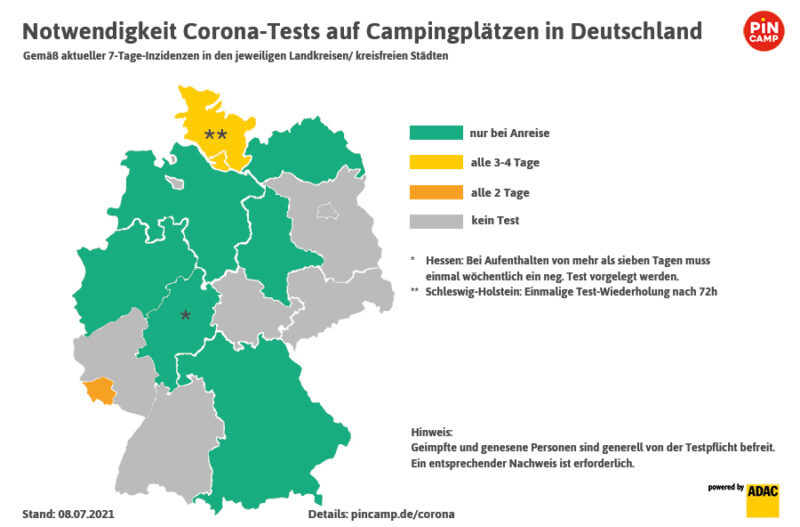Übersicht zur Corona-Testpflicht auf deutschen Campingplätzen, Stand 07.07.2021