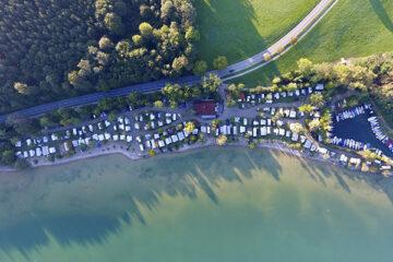 Chiemsee Strandcamping aus der Vogelperspektive