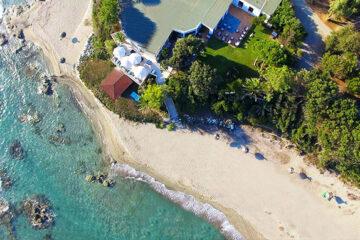 Domaine naturiste de Bagheera - Blick auf den Strand in der Naehe von dem Campingplatz aus der Vogelperspektive