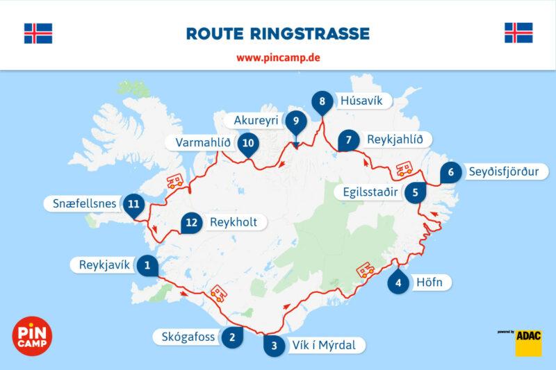 Unsere Route über Island