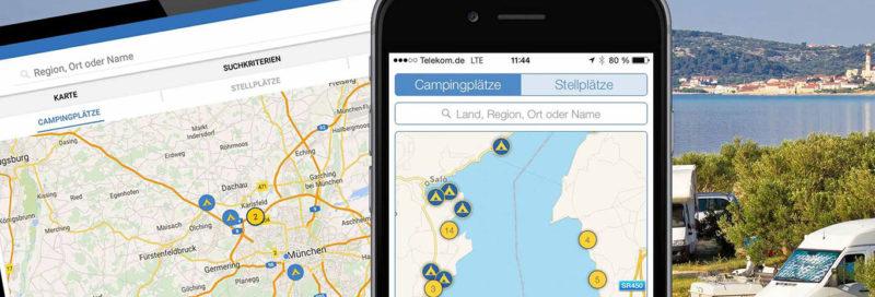 ADAC Produkt Campingreiseführer App auf Tablet und Mobiltelefon